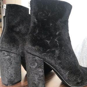 Black Velvet Heeled Booties